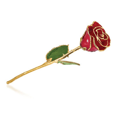 Lacquer-Dipped Gold-Plated Red Rose , , default