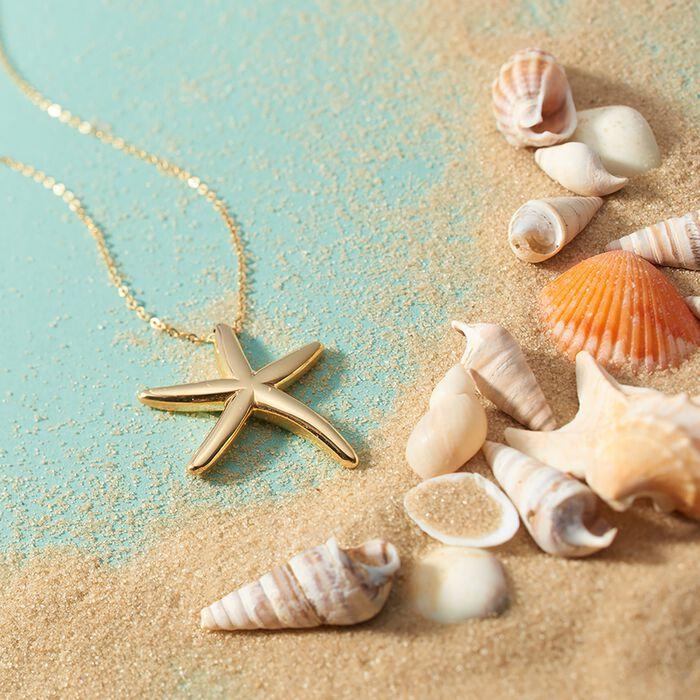 Italian 14kt Yellow Gold Starfish Pendant Necklace