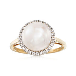9.5-10mm Cultured Button Pearl and .10 ct. t.w. White Topaz Ring in 14kt Yellow Gold, , default