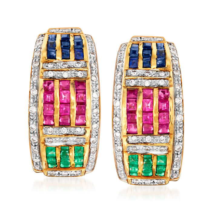 C. 1980 Vintage 2.50 ct. t.w. Multi-Gem and .35 ct. t.w. Diamond Earrings in 14kt Yellow Gold