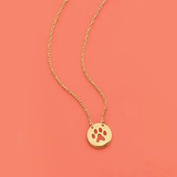 14kt Yellow Gold Mini Paw Print Cut-Out Necklace, , default