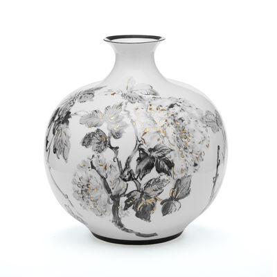 Large Gold and Black Hand-Painted Floral Porcelain Jar, , default