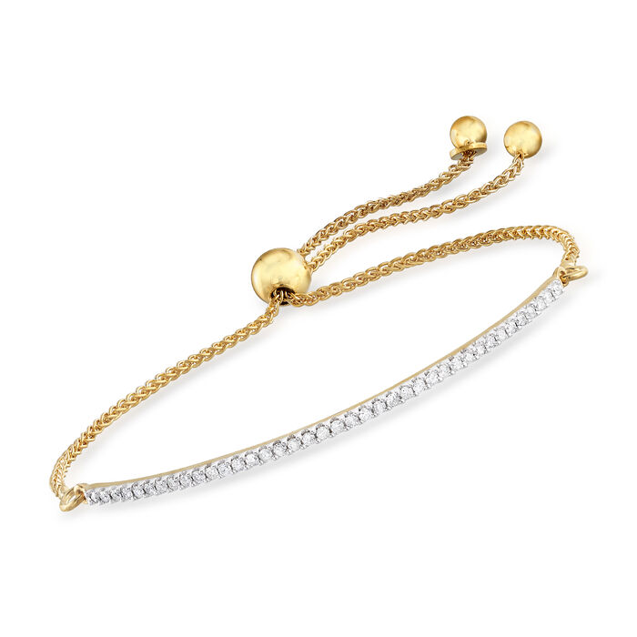 .27 ct. t.w. Diamond Curved Bar Bolo Bracelet in 18kt Gold Over Sterling
