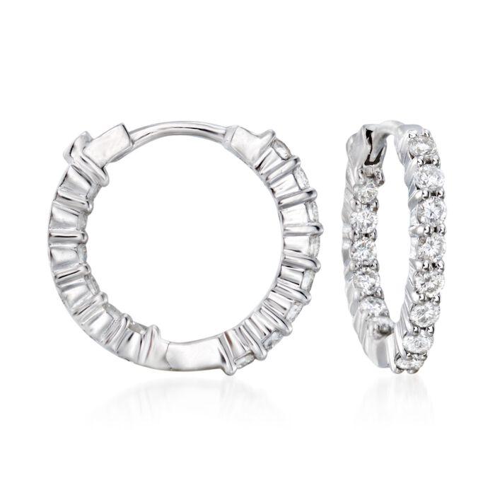 Roberto Coin .76 ct. t.w. Diamond Hoop Earrings in 18kt White Gold , , default