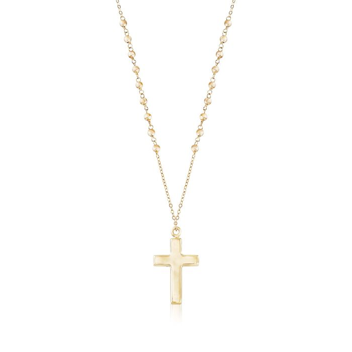 14kt Yellow Gold Cross Pendant Necklace. 18""