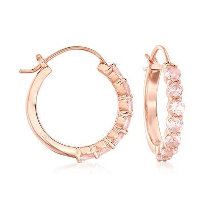 1.60 ct. t.w. Morganite Hoop Earrings in 18kt Rose Gold Over Sterling