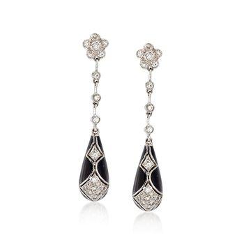 C. 1990 Vintage .75 ct. t.w. Diamond and Black Enamel Drop Earrings in 18kt White Gold, , default