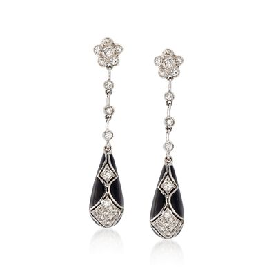 C. 1990 Vintage .75 ct. t.w. Diamond and Black Enamel Drop Earrings in 18kt White Gold, , default