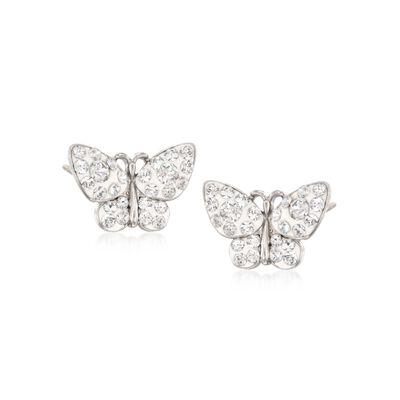 Crystal and White Enamel Butterfly Stud Earrings in Sterling Silver, , default