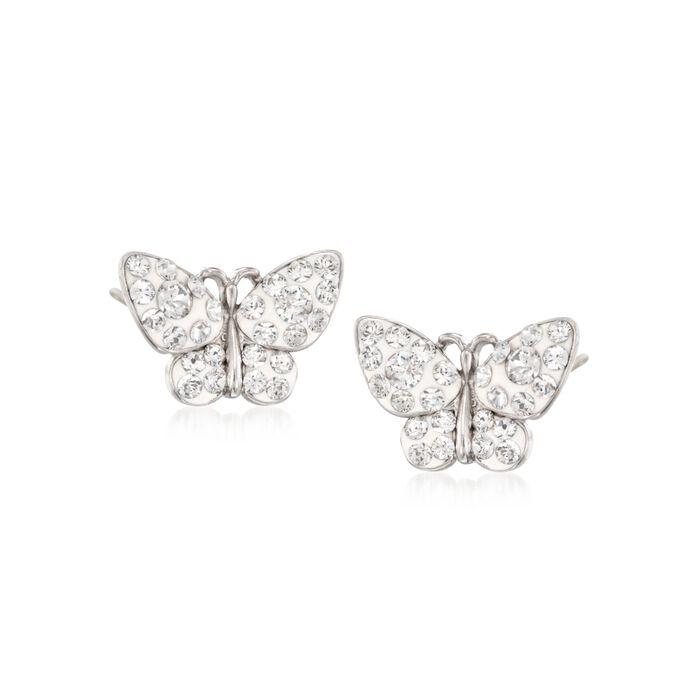 Crystal and White Enamel Butterfly Stud Earrings in Sterling Silver, , default