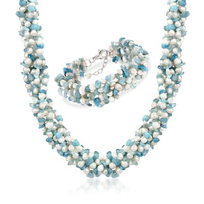 Aquamarine Bead and 5-6mm Cultured Pearl Torsade Necklace with Free Bracelet, , default