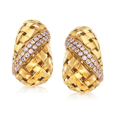 C. 1980 Vintage Tiffany Jewelry 1.10 ct. t.w. Diamond Basketweave Clip-On Earrings in 18kt Yellow Gold