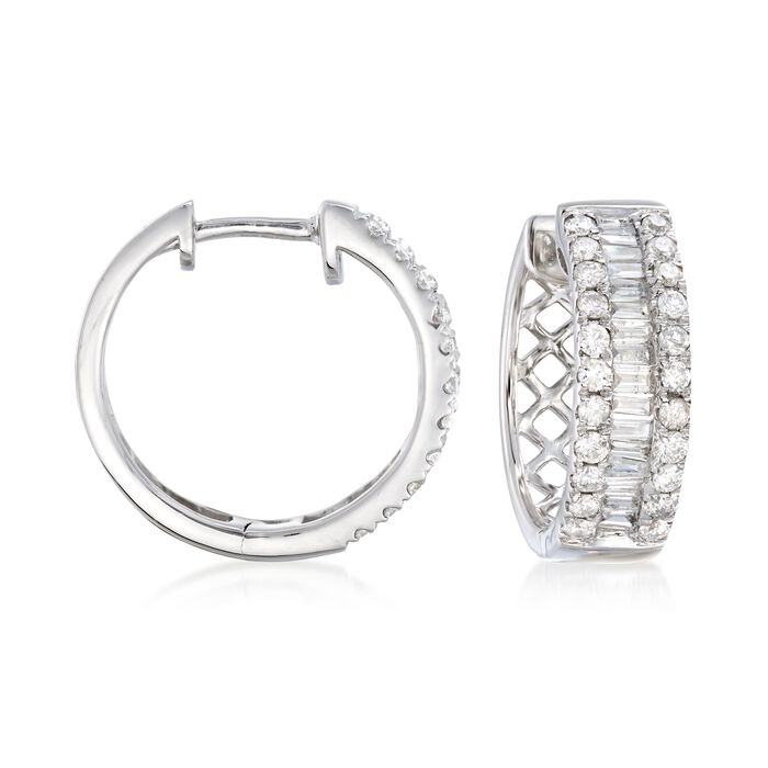 1.00 ct. t.w. Baguette and Round Diamond Three-Row Hoop Earrings in 14kt White Gold. 5/8""