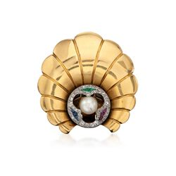 C. 1940 Vintage Tiffany Jewelry Cultured Pearl and Diamond Clip Pin With Multi-Stones in 14kt Yellow Gold, , default
