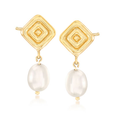 8x6mm Cultured Pearl Ribbed Square Drop Earrings in 14kt Yellow Gold