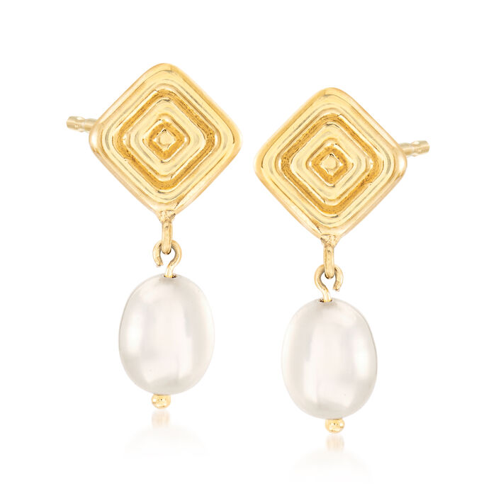 8x6mm Cultured Pearl Ribbed Square Drop Earrings in 14kt Yellow Gold, , default