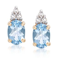 "1.30 Carat Aquamarine Stud Earrings With White Topaz Accents in 14kt Yellow Gold. 3/8"", , default"
