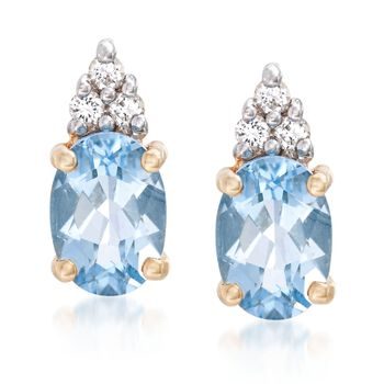 """1.30 Carat Aquamarine Stud Earrings With White Topaz Accents in 14kt Yellow Gold. 3/8"""", , default"""