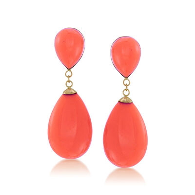 Coral Teardrop Earrings in 14kt Yellow Gold, , default
