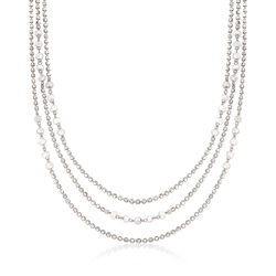 """15.00 ct. t.w. CZ Station Bead Layered Necklace in Sterling Silver. 18.25"""", , default"""