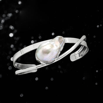 26x17mm Cultured Baroque Pearl Cuff Bracelet in Sterling Silver, , default