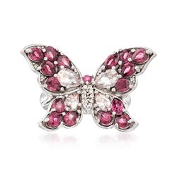 3.25 ct. t.w. Rhodolite Garnet and 1.10 ct. t.w. Morganite Butterfly Ring With White Topaz in Sterling Silver, , default