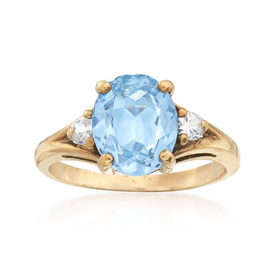 C. 1960 Vintage 2.50 Carat Blue Spinel and .16 ct. t.w. White Sapphire Ring in 10kt Yellow Gold, , default