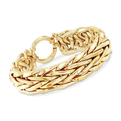 14kt Gold Over Sterling Silver Wheat Link Bracelet, , default