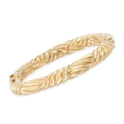 Italian 18kt Yellow Gold Ribbed Bangle Bracelet, , default