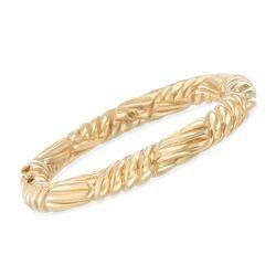 "Italian 18kt Yellow Gold Ribbed Bangle Bracelet. 7"", , default"