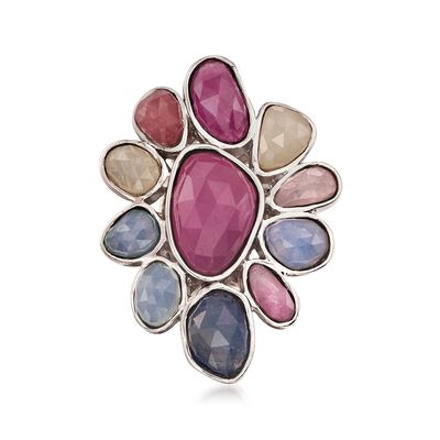 19.70 ct. t.w. Multicolored Sapphire Floral Ring in Sterling Silver, , default