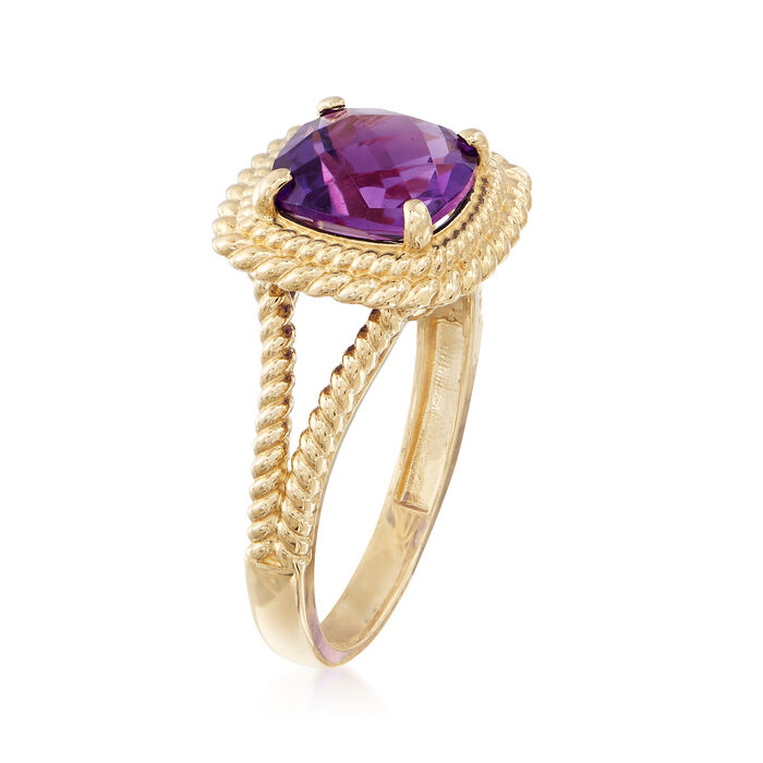 1.80 Carat Amethyst Ring in 14kt Yellow Gold