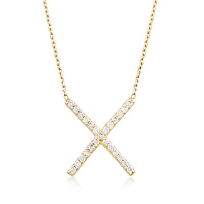 .25 ct. t.w. CZ X Necklace in 14kt Gold Over Sterling, , default