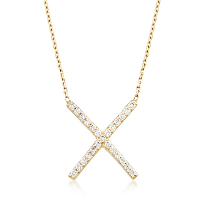 ".25 ct. t.w. CZ X Necklace in 14kt Gold Over Sterling. 18"", , default"