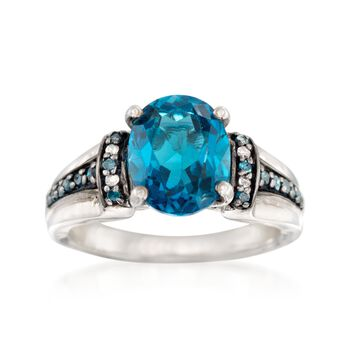 3.20 Carat London Blue Topaz Ring With Blue and White Diamonds in Sterling Silver, , default
