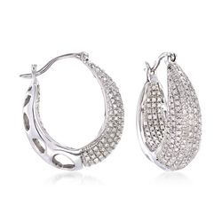 "1.25 ct. t.w. Diamond Inside-Outside Hoop Earrings in Sterling Silver. 7/8"", , default"