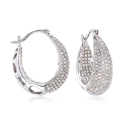 1.25 ct. t.w. Diamond Inside-Outside Hoop Earrings in Sterling Silver, , default