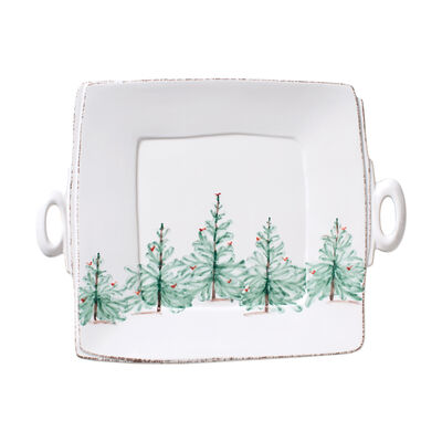 """Lastra """"Holiday"""" Square Handled Platter from Italy"""