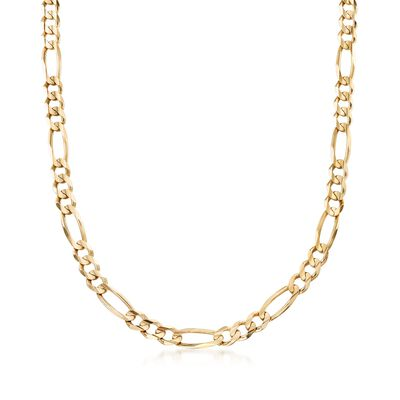 Men's 7mm 14kt Yellow Gold Figaro-Link Chain Necklace, , default