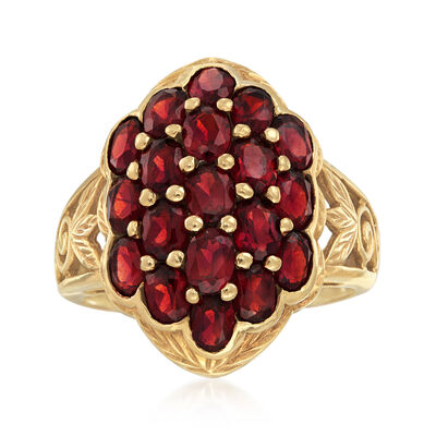 C. 1980 Vintage 3.80 ct. t.w. Garnet Cluster Ring in 10kt Yellow Gold, , default