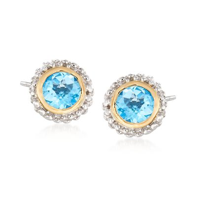 "Phillip Gavriel ""Popcorn"" .98 ct. t.w. Blue Topaz Stud Earrings in Sterling Silver and 18kt Yellow Gold, , default"