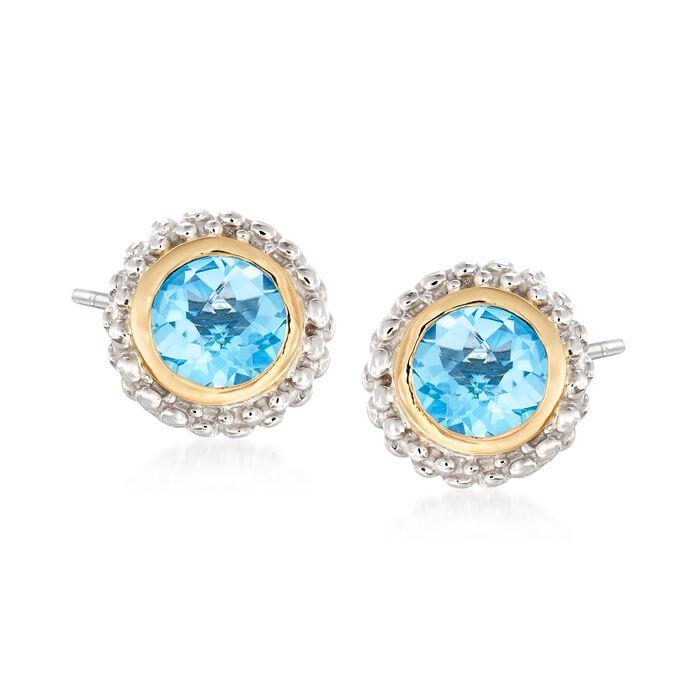 "Phillip Gavriel ""Popcorn"" .98 ct. t.w. Blue Topaz Stud Earrings in Sterling Silver and 18kt Yellow Gold"