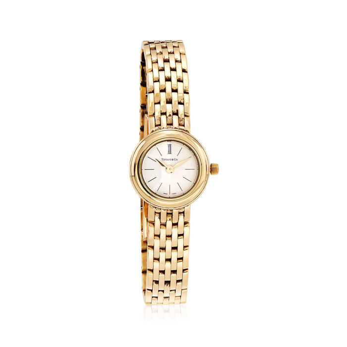 C. 1990 Vintage Tiffany Jewelry Women's 21mm 18kt Yellow Gold Watch. Size 7