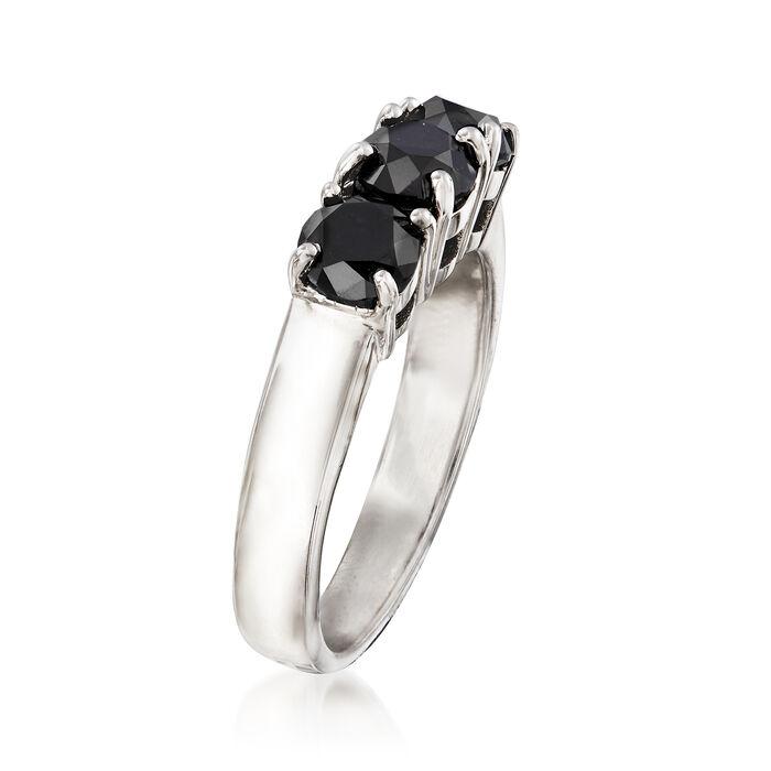 2.00 ct. t.w. Black Diamond Three-Stone Ring in Sterling Silver