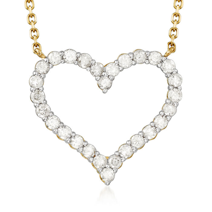 1.50 ct. t.w. Diamond Heart Necklace in 14kt Yellow Gold, , default