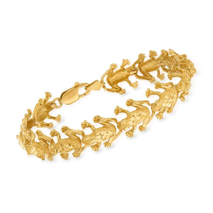 """C. 1990 Vintage 14kt Yellow Gold Frog-Link Bracelet. 7.5"""""""