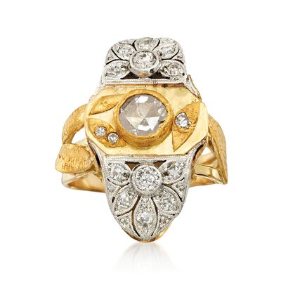 C. 1980 Vintage 1.00 ct. t.w. Diamond Leaf Dinner Ring in 18kt and 24kt Gold, , default