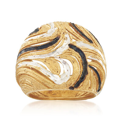 Italian Diamond-Cut Swirl Ring in Sterling Silver and 18kt Yellow Gold Over Sterling, , default