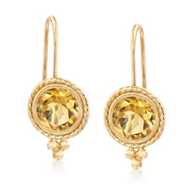 1.40 ct. t.w. Citrine Drop Earrings in 14kt Yellow Gold