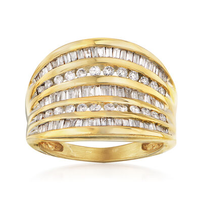 C. 1990 Vintage 1.00 ct. t.w. Diamond Layered Ring in 14kt Yellow Gold
